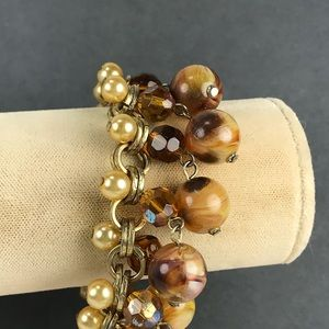 Brown gold pearl  beaded bracelet